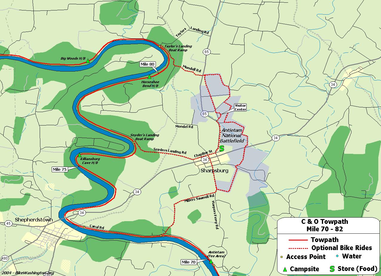 Towpath Map Mile 70 Thru 82