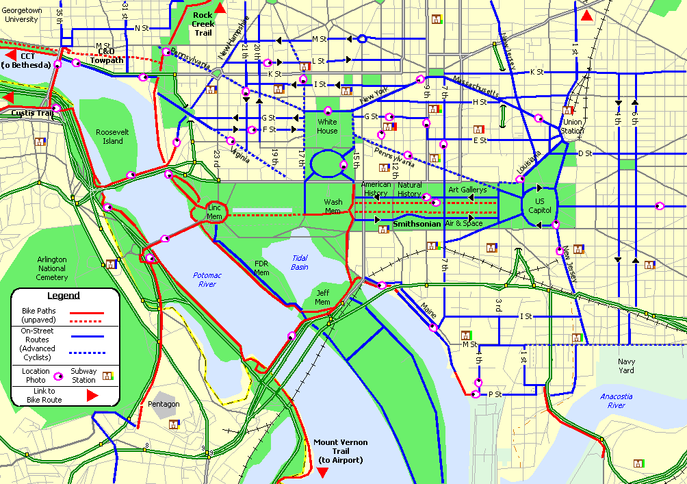 Bike Washington Downtown Commute Routes - Map of us capitol grounds